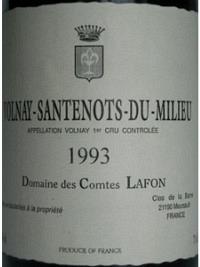 Volnay-Santenots-du-Milieu 1993, AOC